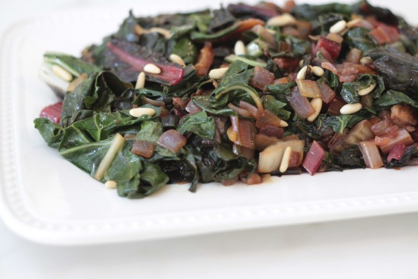 sautéed swiss chard with dried apricots and pine nuts|pamela salzman