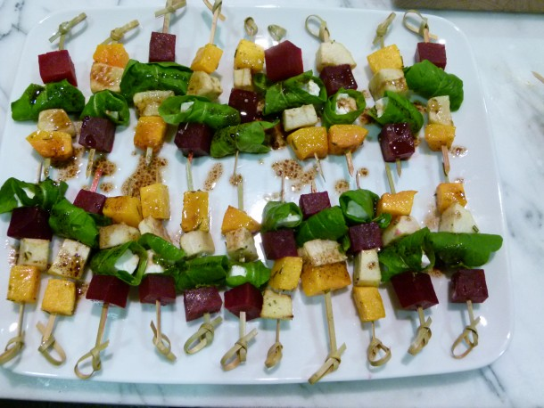 butternut squash, beet and apple skewers|pamela salzman