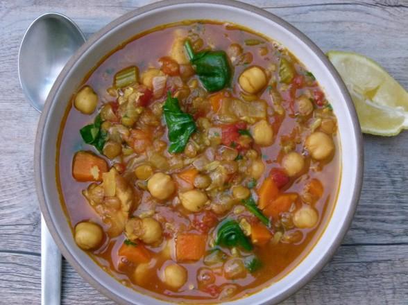Harira (Moroccan stew with chicken, chickpeas, lentils and rice)   pamela salzman