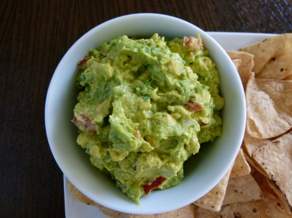 perfect guacamole and baked tortilla chips