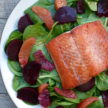 seared wild salmon with beet, blood orange and spinach salad recipe