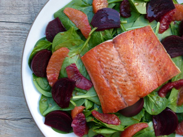 Seared Wild Salmon Salad with Beets, Blood Oranges and Spinach | Pamela Salzman