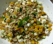 farro with cucumber, golden beets, feta and mint vinaigrette