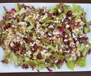 Mixed Greens with Grapes, Gorgonzola (or Roquefort) and Almonds