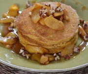 pumpkin pancakes with sauteed apples