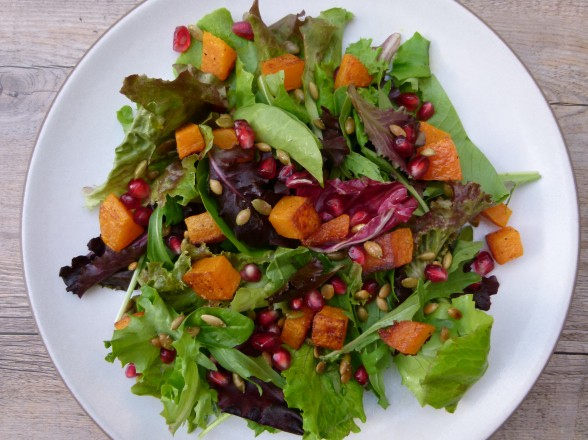 butternut squash salad with pomegranates and pumpkin seeds | pamela salzman