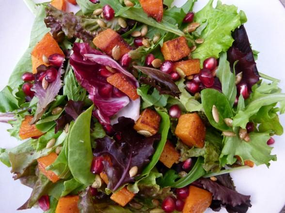 butternut squash salad with pomegranates and toasted pumpkin seeds | pamela salzman