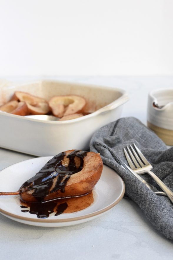 Cinnamon Roasted Pears with Dark Chocolate Sauce | Pamela Salzman