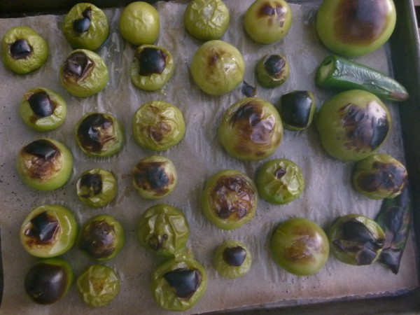 Charred tomatillos and jalapenos