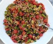 farro with roasted vegetables and roasted tomato dressing recipe