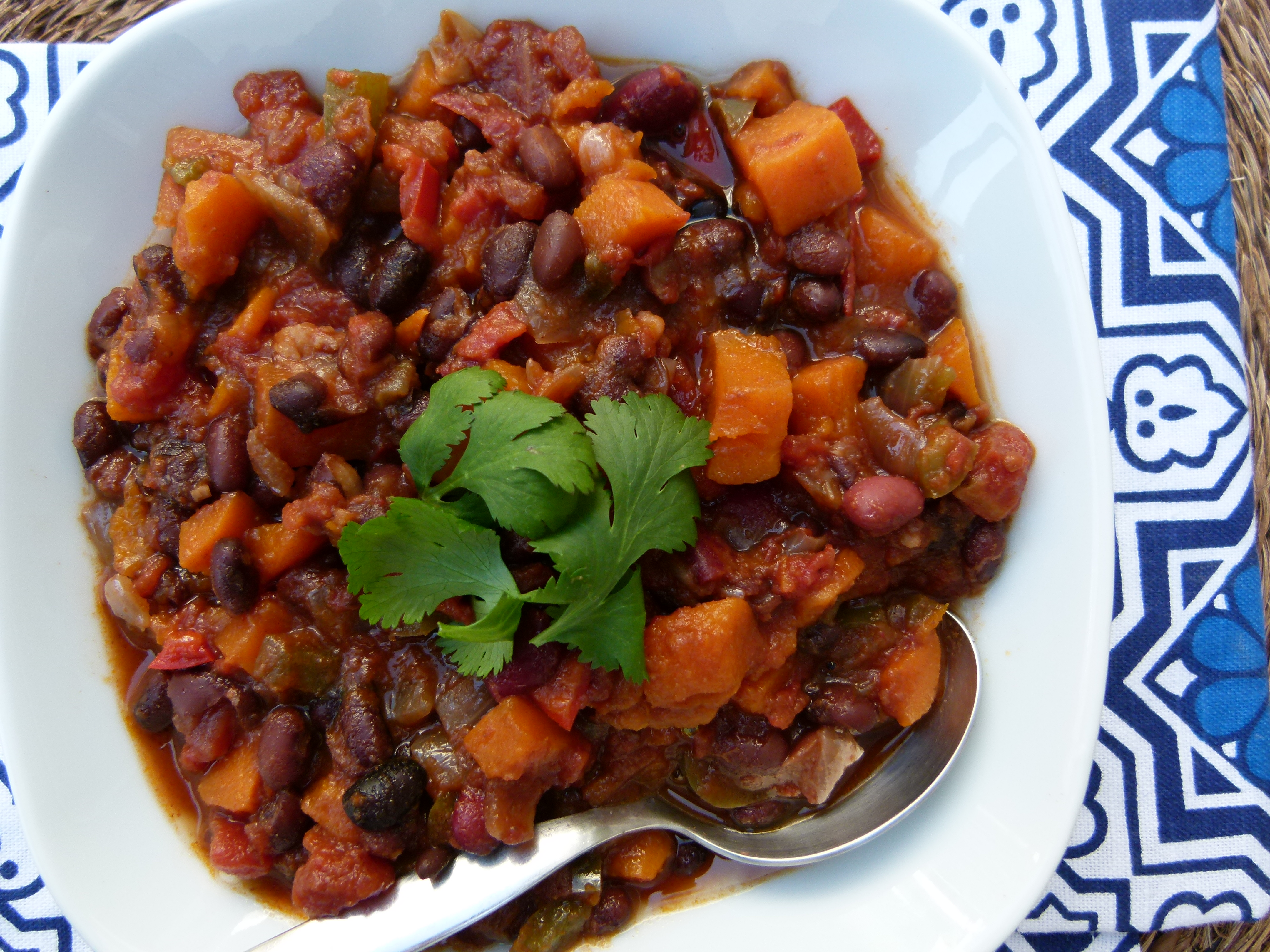 Slow Cooker Vegetarian Chili With Sweet Potatoes Stovetop Version Too