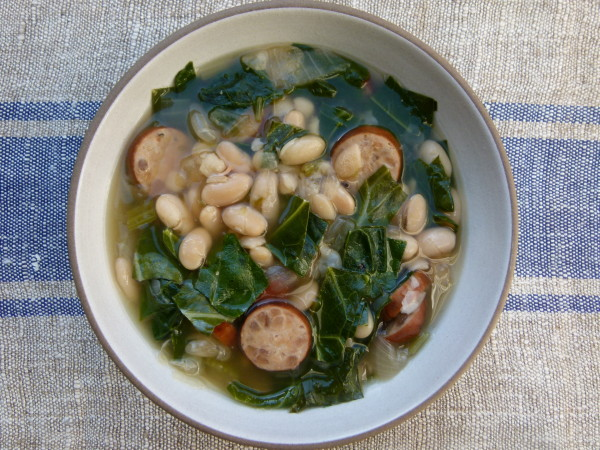 slow cooker white bean soup with sausage and collard greens recipe