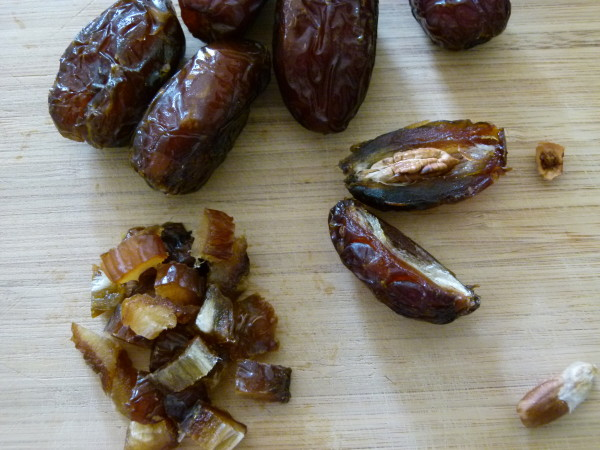 I love Medjool dates!  Dice them when they're cold -- much easier.