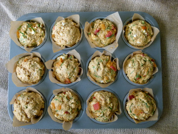 Savory Muffins with Spinach, Feta and Roasted Peppers