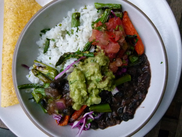 rice and bean burrito bowl