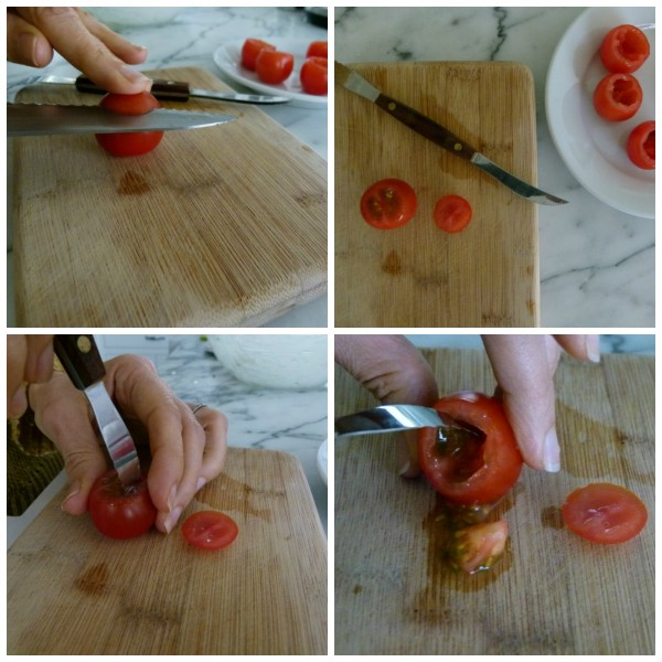hollowing out cherry tomatoes