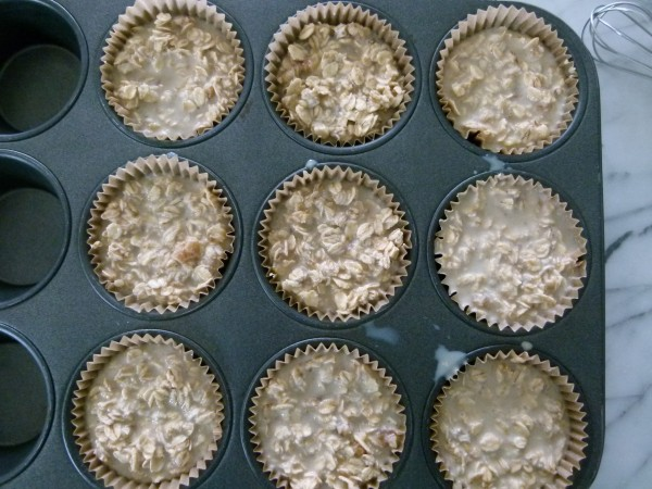 mixture in the muffin liners