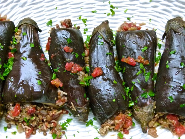Lentil and Rice-Stuffed Baby Eggplants | Pamela Salzman