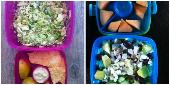 salads, fruit, hummus