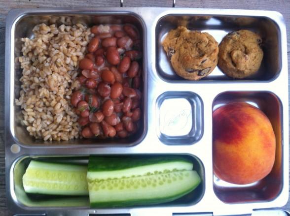 Brown rice, beans, cookies, peach, cucumbers