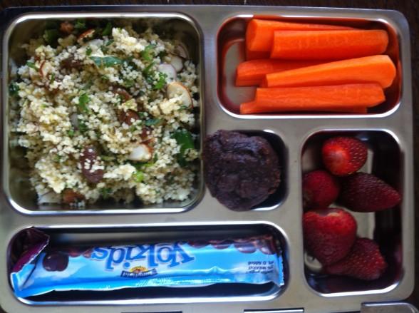 couscous, carrots, strawberries, yogurt, cookie