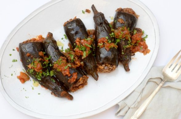 Lentil and Rice Stuffed Baby Eggplants | Pamela Salzman