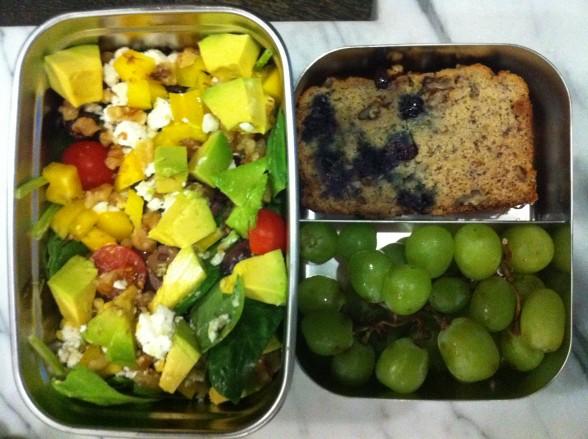salad, banana bread, grapes