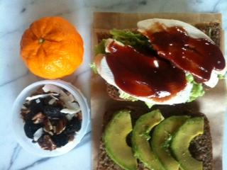 poached chicken w/BBQ sauce & avocado, trail mix, tangerine