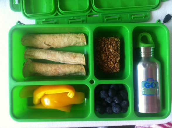 taquitos, yellow peppers, oat bar, blueberries