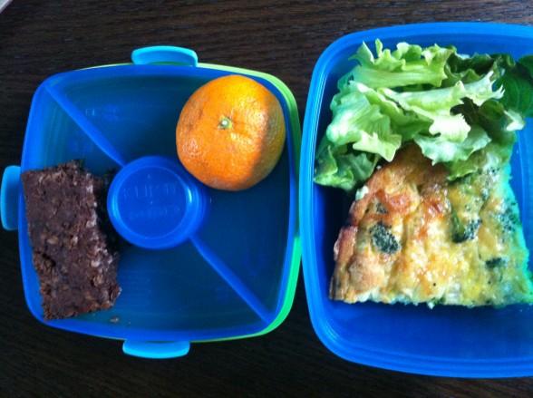 vegetable frittata, salad, chocolate oat bar, tangerine