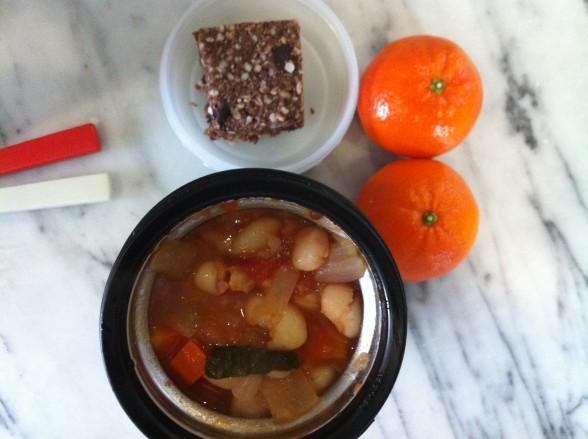 minestrone soup, granola bar, tangerines