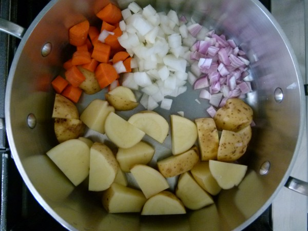potatoes, carrots, shallot, onion