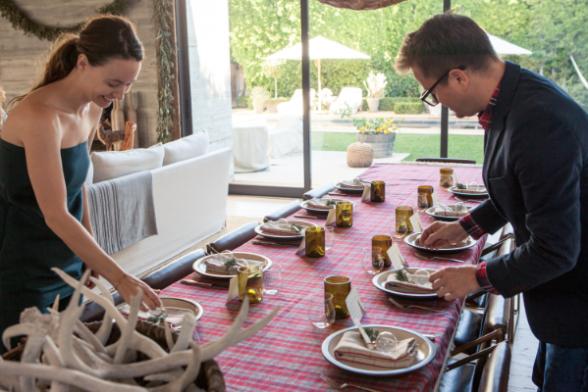 Jenni and Nathan setting the table
