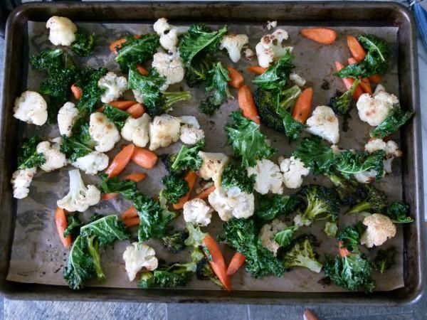 Perfectly roasted veggies and crispy kale