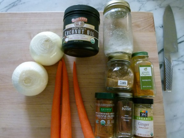 onion, carrots, coconut oil and spices