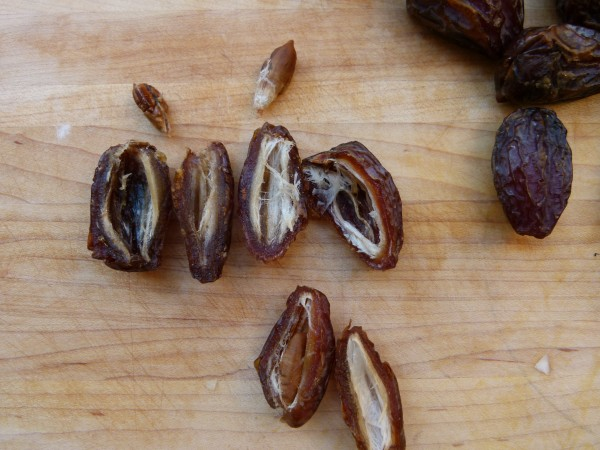 slice open the dates to remove the pit