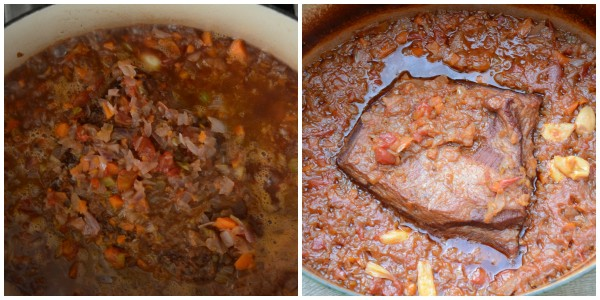 brisket and sauce before and after