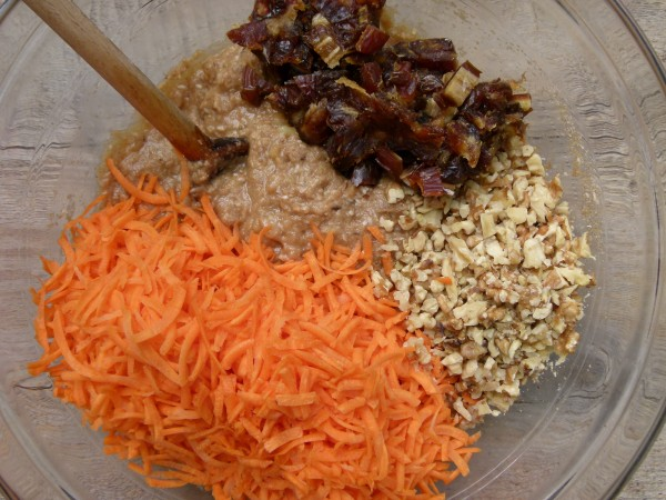 add in shredded carrots and dates