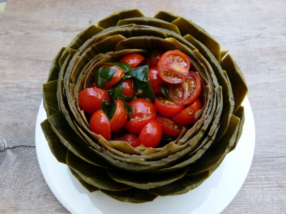 whole steamed artichokes with tomato-basil salad