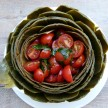 Whole Steamed Artichokes with Tomato-Basil Salad Recipe