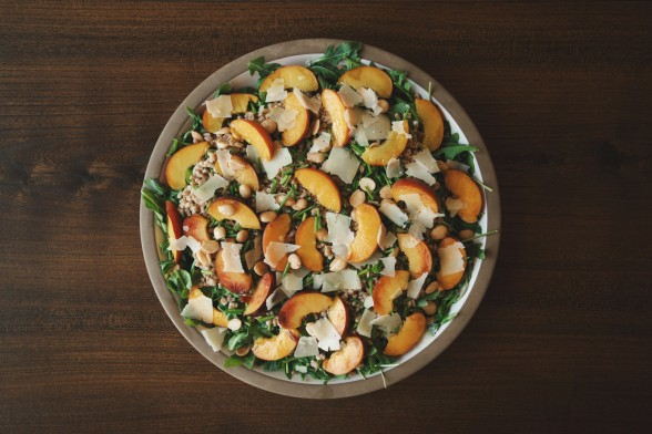 arugula and farro salad with peaches