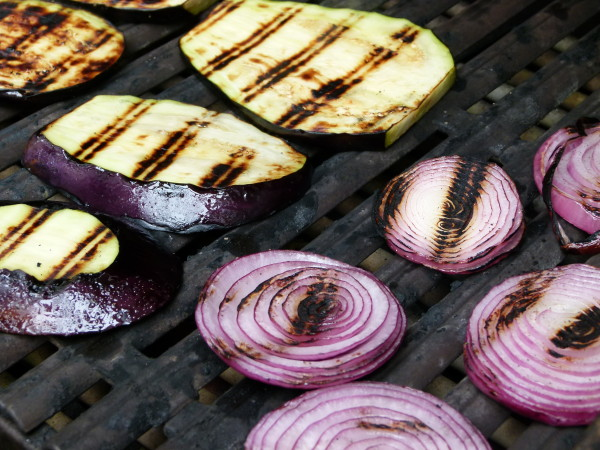 eggplant and onions on the grill