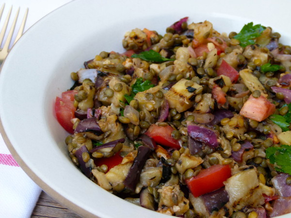 lentil and grilled eggplant salad | pamela salzman