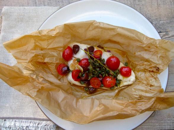 mediterranean fish in parchment