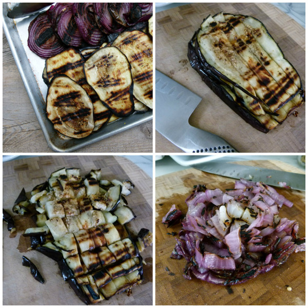grill the red onions and eggplant and chop