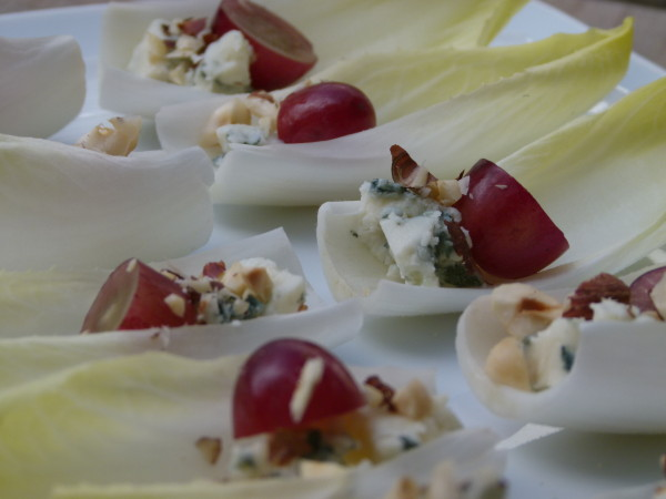 endive leaves with grapes, hazelnuts and roquefort | pamela salzman