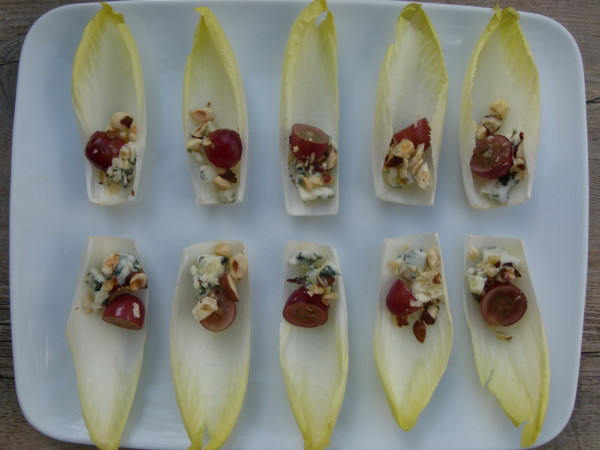 endive leaves with grapes, hazelnuts and roquefort | pamelasalzman.com