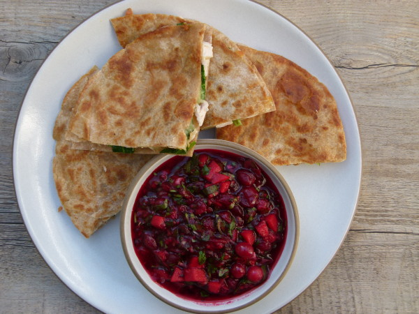 turkey and spinach quesadillas with cranberry salsa