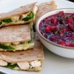 Turkey and spinach quesadillas with cranberry salsa recipe
