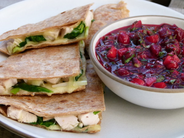 turkey and spinach quesadillas with cranberry salsa | pamela salzman
